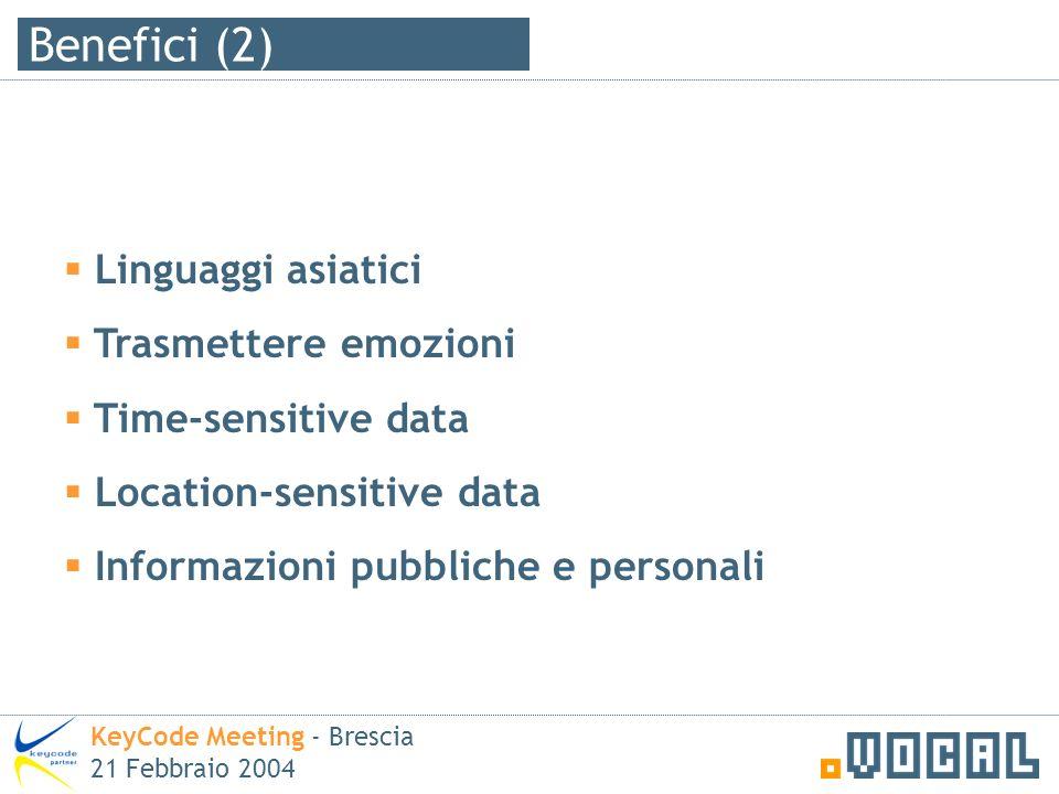 Benefici (2) KeyCode Meeting - Brescia 21 Febbraio 2004 Linguaggi asiatici Trasmettere emozioni Time-sensitive data Location-sensitive data Informazioni pubbliche e personali