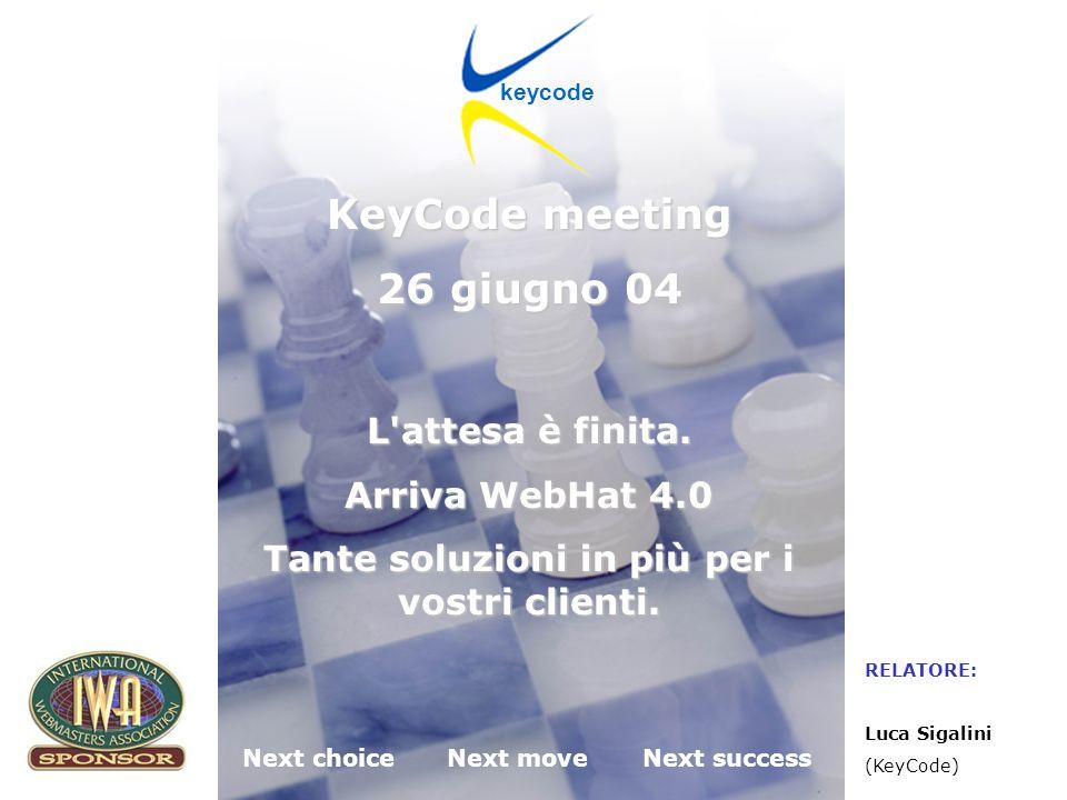 KeyCode next choice next move next success Desenzano del Garda (BS) 26.06.2004 WebHat 4.0 Miglioramenti al template editor Funzionalità di duplicazione template.