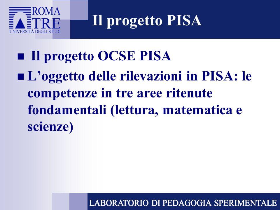 Il progetto PISA Il progetto OCSE PISA Loggetto delle rilevazioni in PISA: le competenze in tre aree ritenute fondamentali (lettura, matematica e scienze)