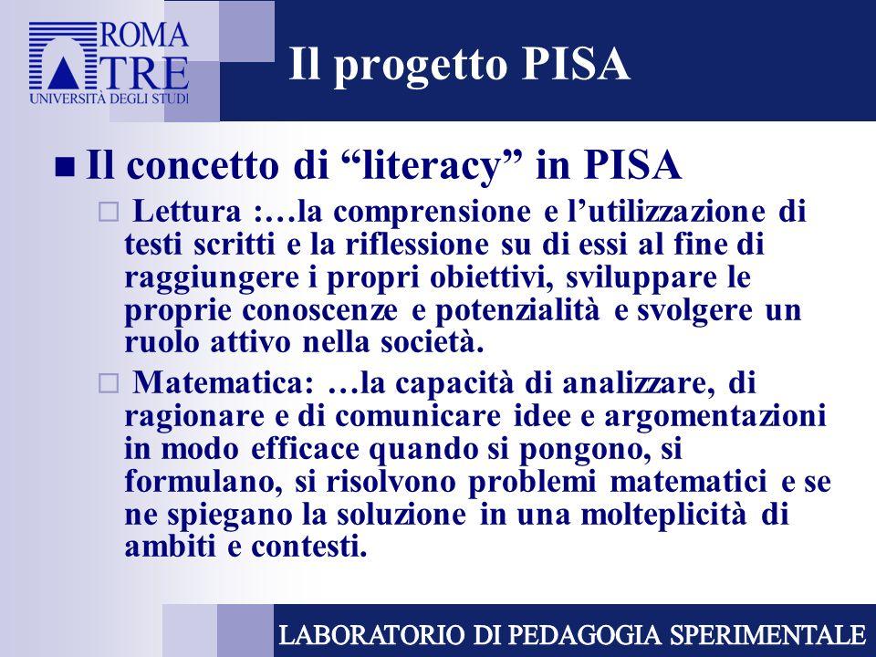 Il progetto PISA Il concetto di literacy in PISA Lettura :…la comprensione e lutilizzazione di testi scritti e la riflessione su di essi al fine di raggiungere i propri obiettivi, sviluppare le proprie conoscenze e potenzialità e svolgere un ruolo attivo nella società.