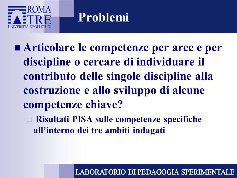 Problemi Articolare le competenze per aree e per discipline o cercare di individuare il contributo delle singole discipline alla costruzione e allo sviluppo di alcune competenze chiave.
