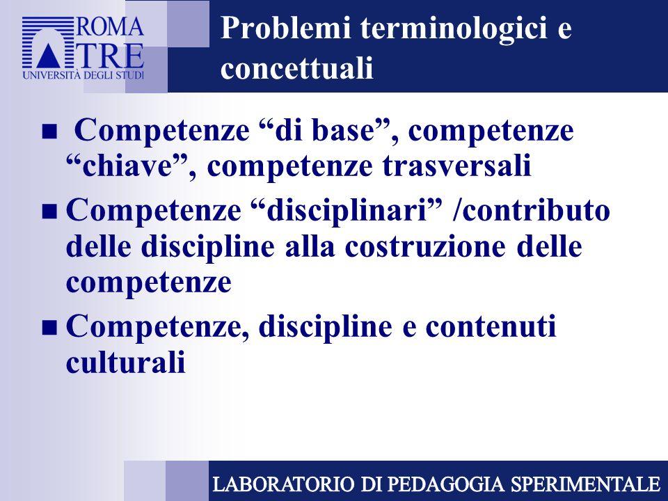 Problemi terminologici e concettuali Competenze di base, competenze chiave, competenze trasversali Competenze disciplinari /contributo delle discipline alla costruzione delle competenze Competenze, discipline e contenuti culturali