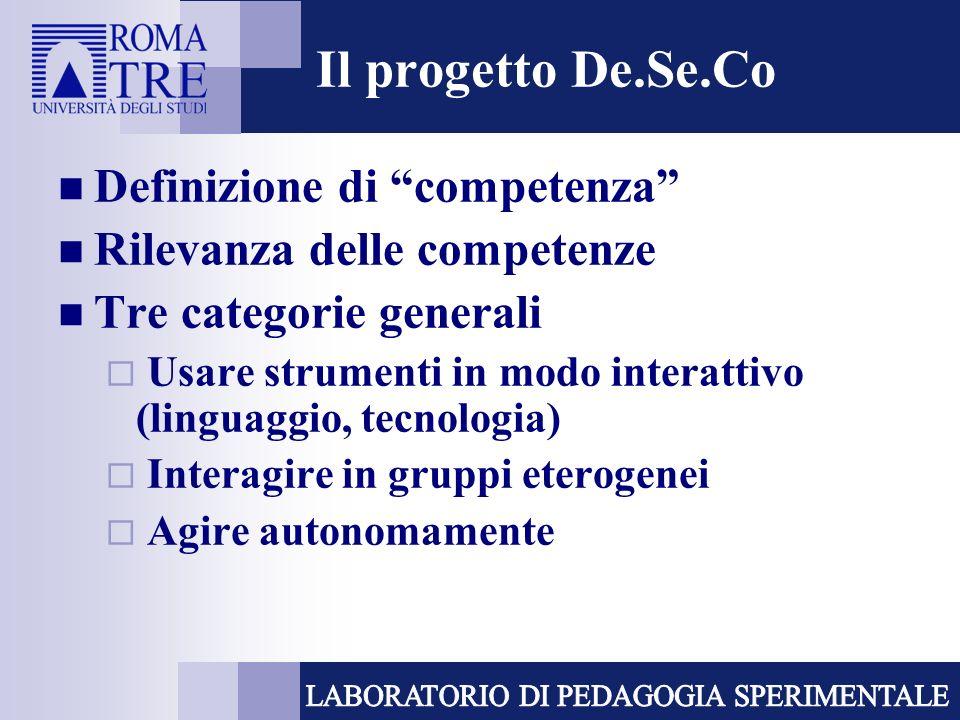 Il progetto De.Se.Co Definizione di competenza Rilevanza delle competenze Tre categorie generali Usare strumenti in modo interattivo (linguaggio, tecnologia) Interagire in gruppi eterogenei Agire autonomamente