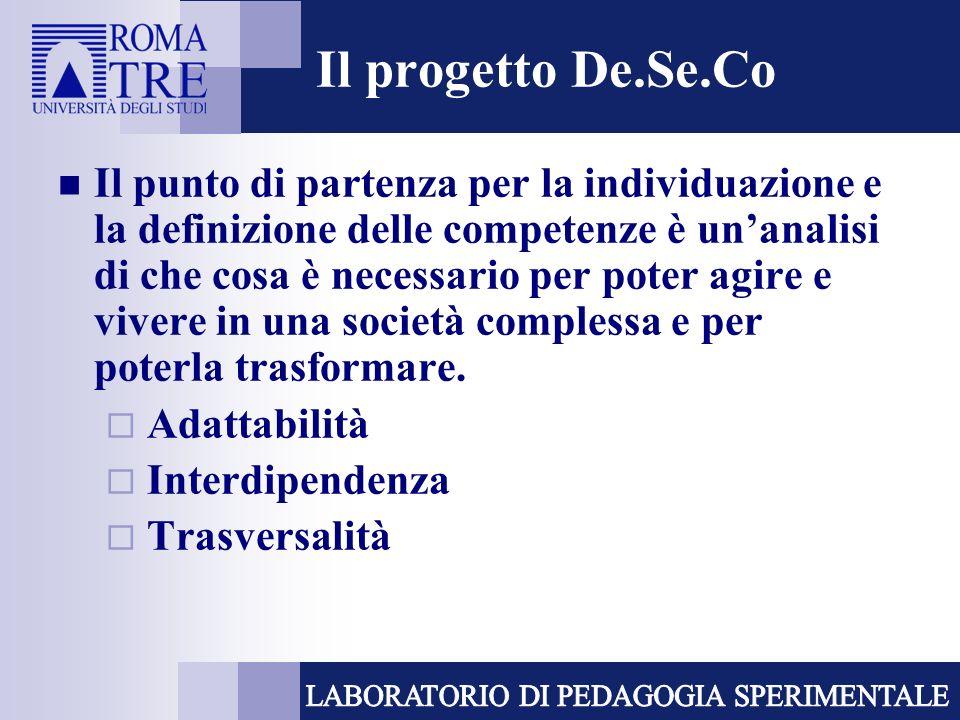 Il progetto De.Se.Co Il punto di partenza per la individuazione e la definizione delle competenze è unanalisi di che cosa è necessario per poter agire e vivere in una società complessa e per poterla trasformare.