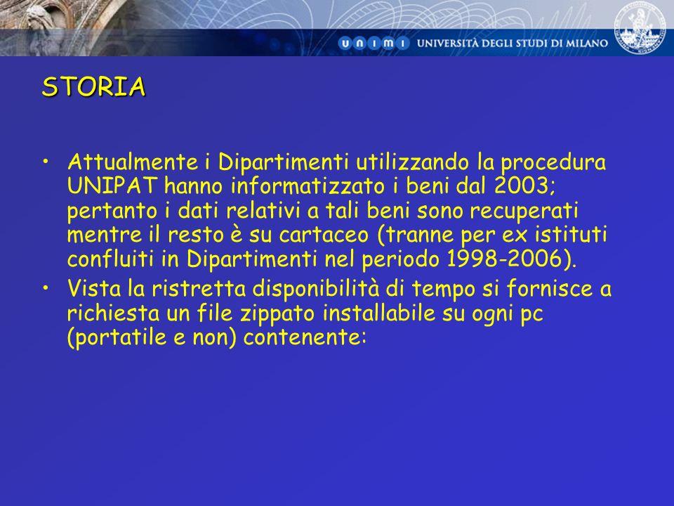 STORIA Attualmente i Dipartimenti utilizzando la procedura UNIPAT hanno informatizzato i beni dal 2003; pertanto i dati relativi a tali beni sono recu