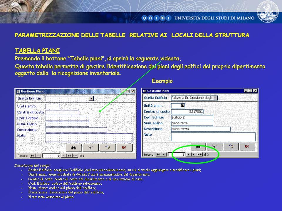 PARAMETRIZZAZIONE DELLE TABELLE RELATIVE AI LOCALI DELLA STRUTTURA TABELLA STANZE Premendo il bottone Tabelle stanze, si aprirà la seguente videata.