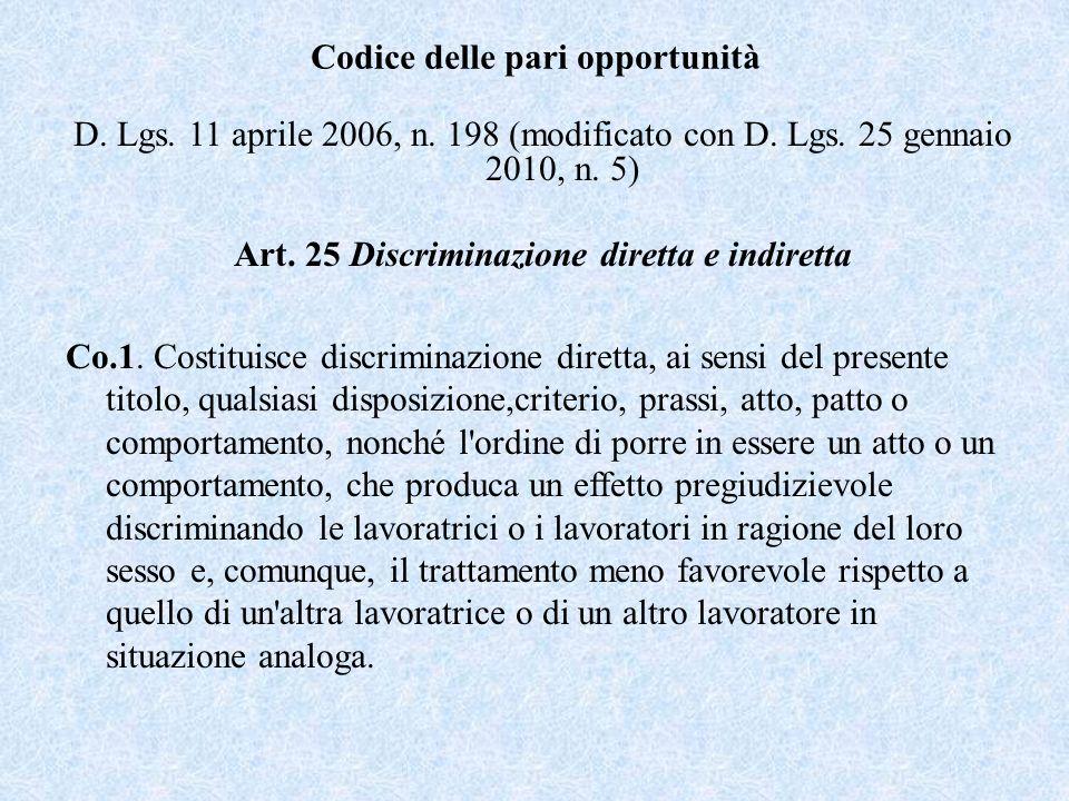 Codice delle pari opportunità D. Lgs. 11 aprile 2006, n. 198 (modificato con D. Lgs. 25 gennaio 2010, n. 5) Art. 25 Discriminazione diretta e indirett