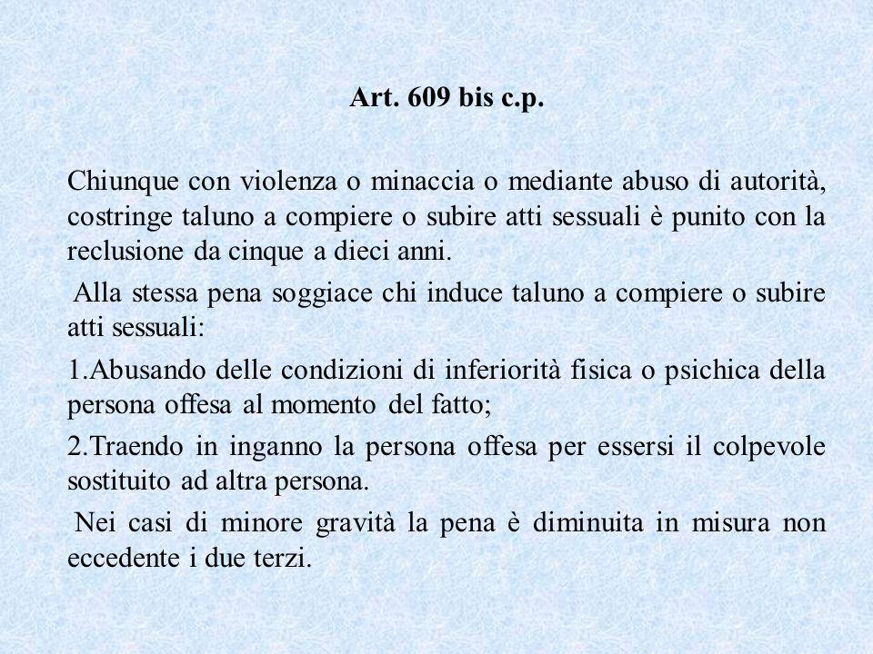 Art. 609 bis c.p. Chiunque con violenza o minaccia o mediante abuso di autorità, costringe taluno a compiere o subire atti sessuali è punito con la re