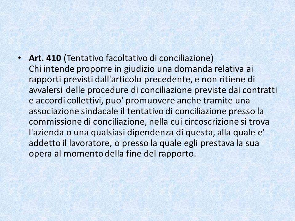 Art. 410 (Tentativo facoltativo di conciliazione) Chi intende proporre in giudizio una domanda relativa ai rapporti previsti dall'articolo precedente,