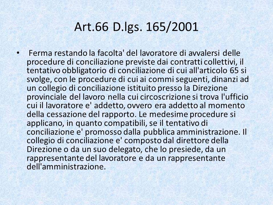 Art.66 D.lgs. 165/2001 Ferma restando la facolta' del lavoratore di avvalersi delle procedure di conciliazione previste dai contratti collettivi, il t