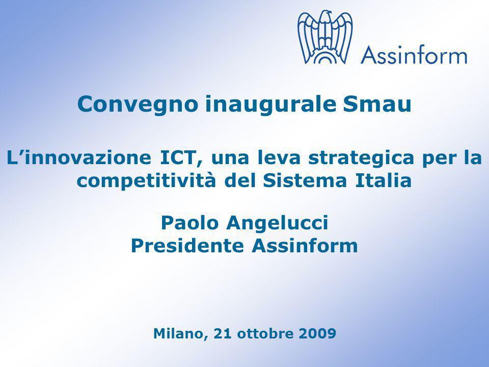 Paolo Angelucci – Presidente Assinform Smau 2009 0 Convegno inaugurale Smau Linnovazione ICT, una leva strategica per la competitività del Sistema Italia Paolo Angelucci Presidente Assinform Milano, 21 ottobre 2009