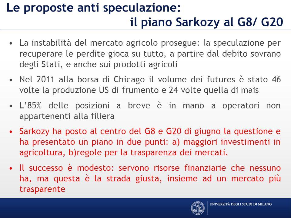 Le proposte anti speculazione: il piano Sarkozy al G8/ G20 La instabilità del mercato agricolo prosegue: la speculazione per recuperare le perdite gioca su tutto, a partire dal debito sovrano degli Stati, e anche sui prodotti agricoli Nel 2011 alla borsa di Chicago il volume dei futures è stato 46 volte la produzione US di frumento e 24 volte quella di mais L85% delle posizioni a breve è in mano a operatori non appartenenti alla filiera Sarkozy ha posto al centro del G8 e G20 di giugno la questione e ha presentato un piano in due punti: a) maggiori investimenti in agricoltura, b)regole per la trasparenza dei mercati.