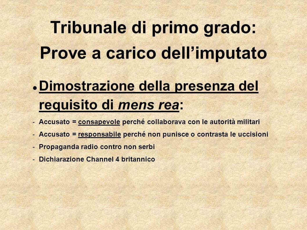Tribunale di primo grado: Prove a carico dellimputato Dimostrazione della presenza del requisito di mens rea: - Accusato = consapevole perché collabor