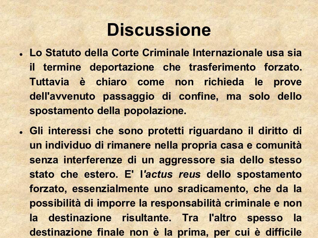 Discussione Lo Statuto della Corte Criminale Internazionale usa sia il termine deportazione che trasferimento forzato. Tuttavia è chiaro come non rich