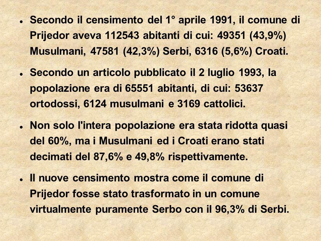Secondo il censimento del 1° aprile 1991, il comune di Prijedor aveva 112543 abitanti di cui: 49351 (43,9%) Musulmani, 47581 (42,3%) Serbi, 6316 (5,6%