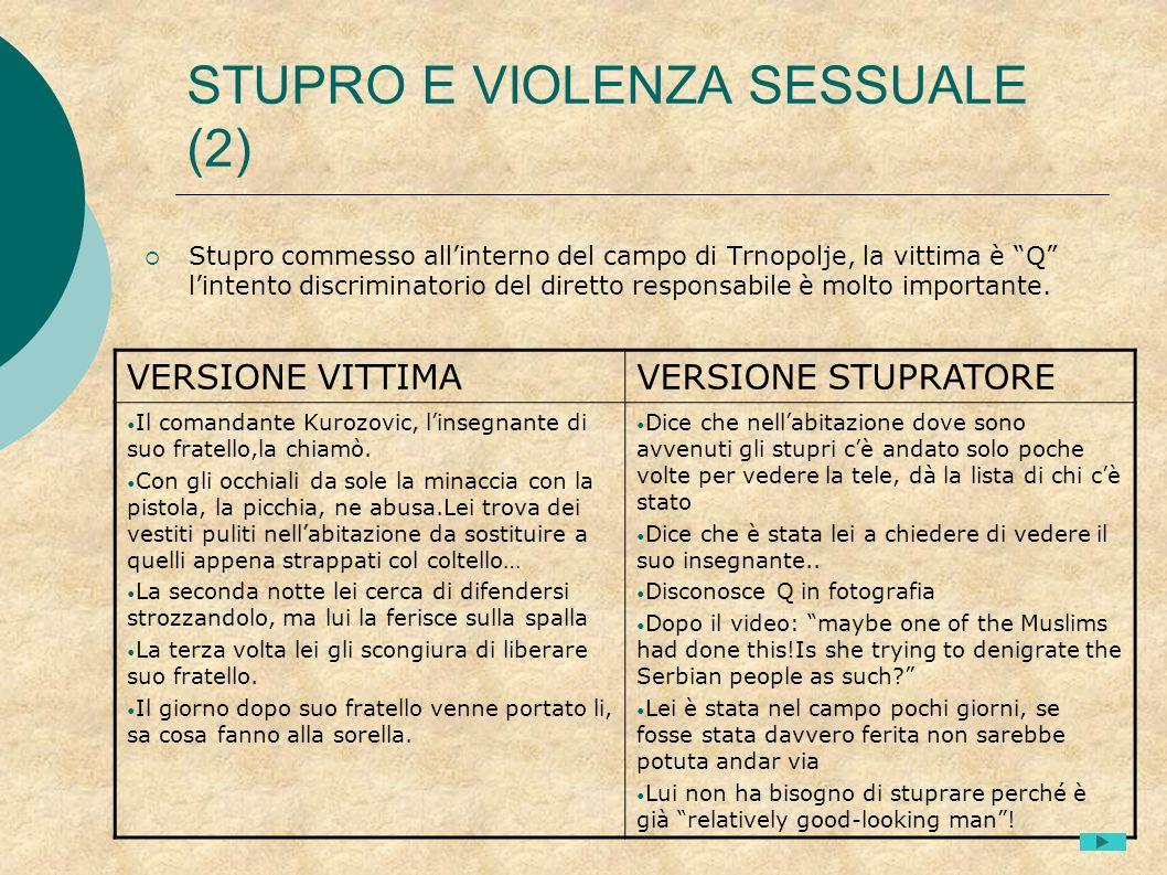 STUPRO E VIOLENZA SESSUALE (2) Stupro commesso allinterno del campo di Trnopolje, la vittima è Q lintento discriminatorio del diretto responsabile è m