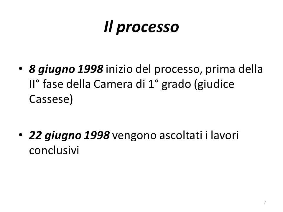 Il processo 8 giugno 1998 inizio del processo, prima della II° fase della Camera di 1° grado (giudice Cassese) 22 giugno 1998 vengono ascoltati i lavo