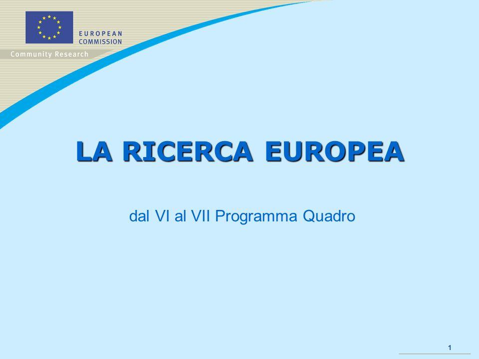 1 LA RICERCA EUROPEA dal VI al VII Programma Quadro