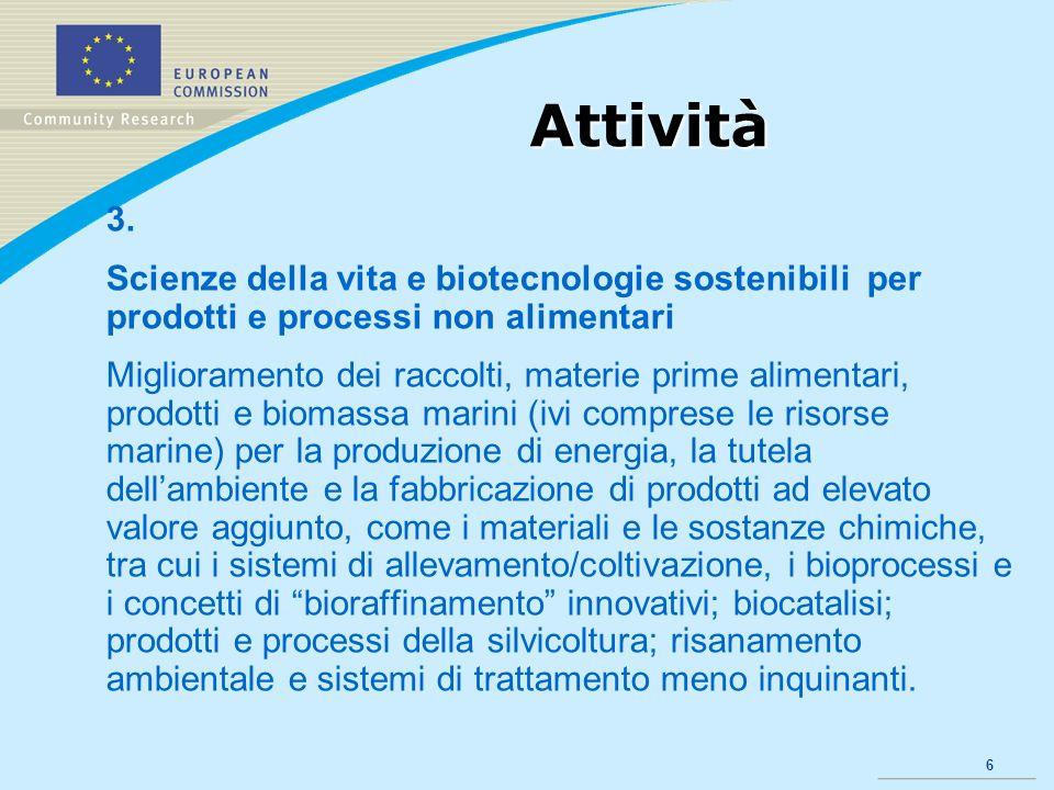 6 Attività 3. Scienze della vita e biotecnologie sostenibili per prodotti e processi non alimentari Miglioramento dei raccolti, materie prime alimenta
