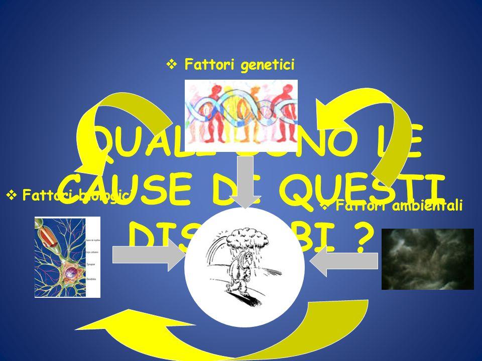 QUALI SONO LE CAUSE DI QUESTI DISTURBI ? Fattori genetici Fattori biologici Fattori ambientali