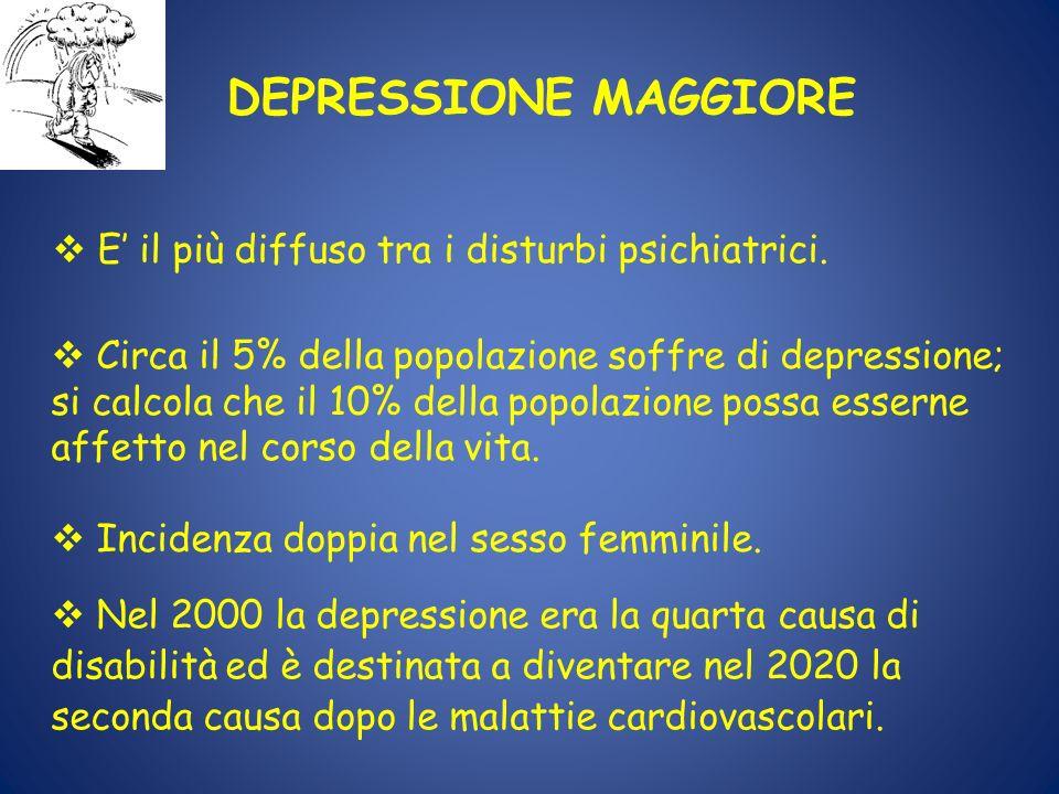 v Nel 2000 la depressione era la quarta causa di disabilità ed è destinata a diventare nel 2020 la seconda causa dopo le malattie cardiovascolari. DEP