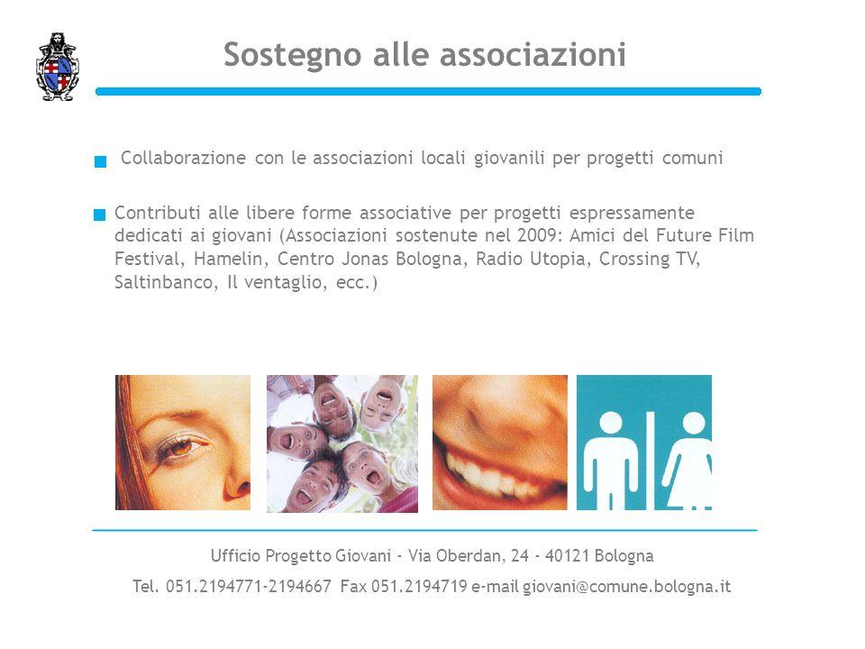 Sostegno alle associazioni Contributi alle libere forme associative per progetti espressamente dedicati ai giovani (Associazioni sostenute nel 2009: A