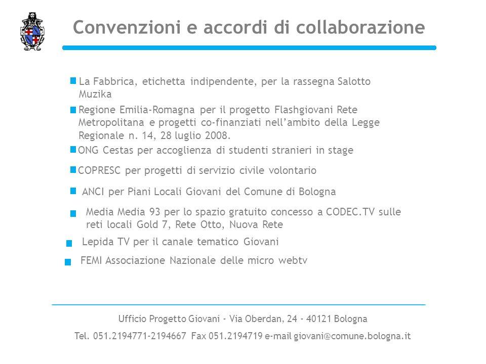 Convenzioni e accordi di collaborazione Regione Emilia-Romagna per il progetto Flashgiovani Rete Metropolitana e progetti co-finanziati nellambito del