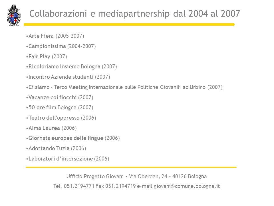 Arte Fiera (2005-2007) Campionissima (2004-2007) Fair Play (2007) Ricoloriamo insieme Bologna (2007) Incontro Aziende studenti (2007) Ci siamo - Terzo