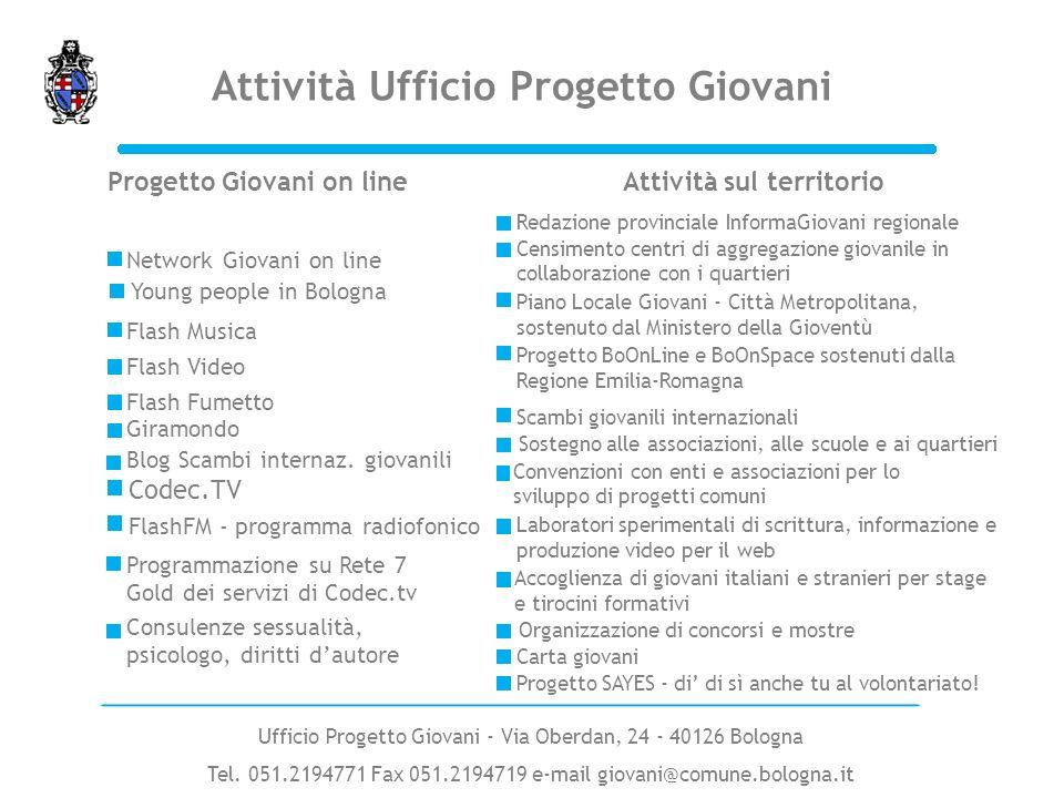 Progetto Giovani on lineAttività sul territorio Network Giovani on line Flash Musica Flash Video Giramondo Scambi giovanili internazionali Carta giova
