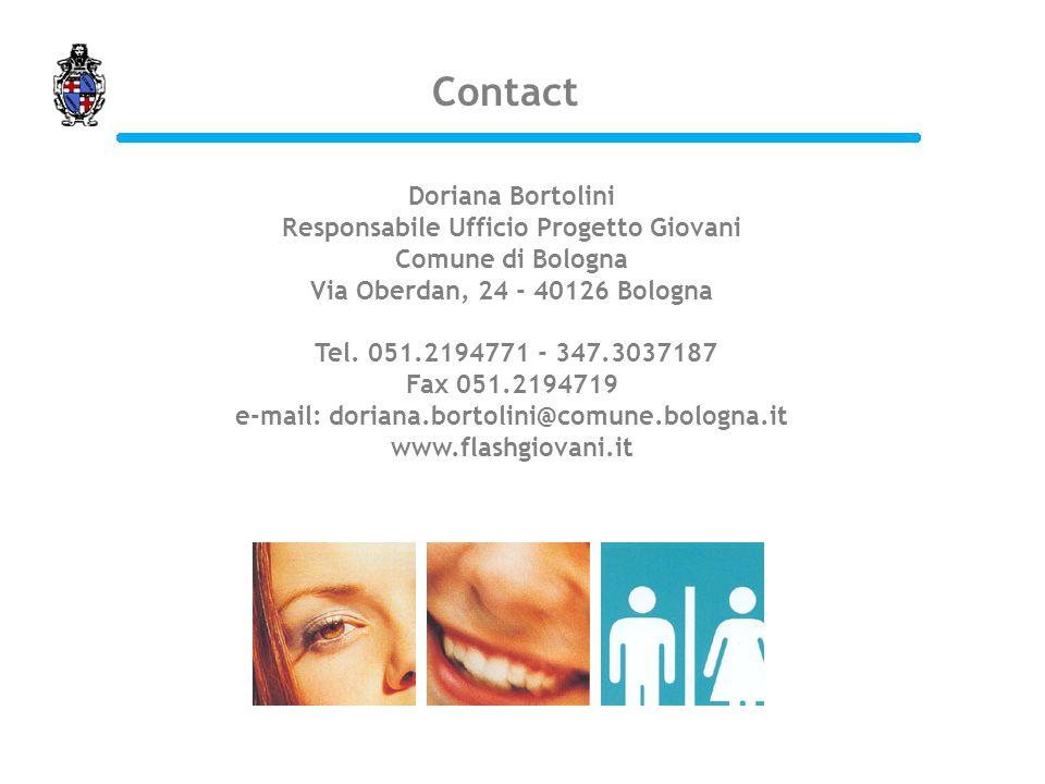 Doriana Bortolini Responsabile Ufficio Progetto Giovani Comune di Bologna Via Oberdan, 24 - 40126 Bologna Tel. 051.2194771 - 347.3037187 Fax 051.21947