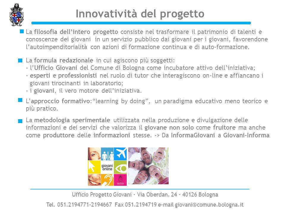 Innovatività del progetto Ufficio Progetto Giovani - Via Oberdan, 24 - 40126 Bologna Tel. 051.2194771-2194667 Fax 051.2194719 e-mail giovani@comune.bo