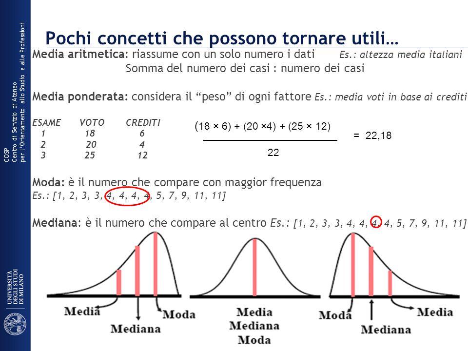 Pochi concetti che possono tornare utili… Media aritmetica: riassume con un solo numero i dati Es.: altezza media italiani Somma del numero dei casi :