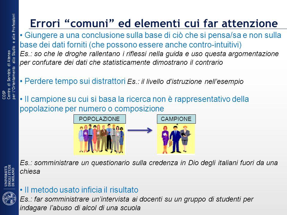 Errori comuni ed elementi cui far attenzione COSP Centro di Servizio di Ateneo per lOrientamento allo Studio e alle Professioni Giungere a una conclus
