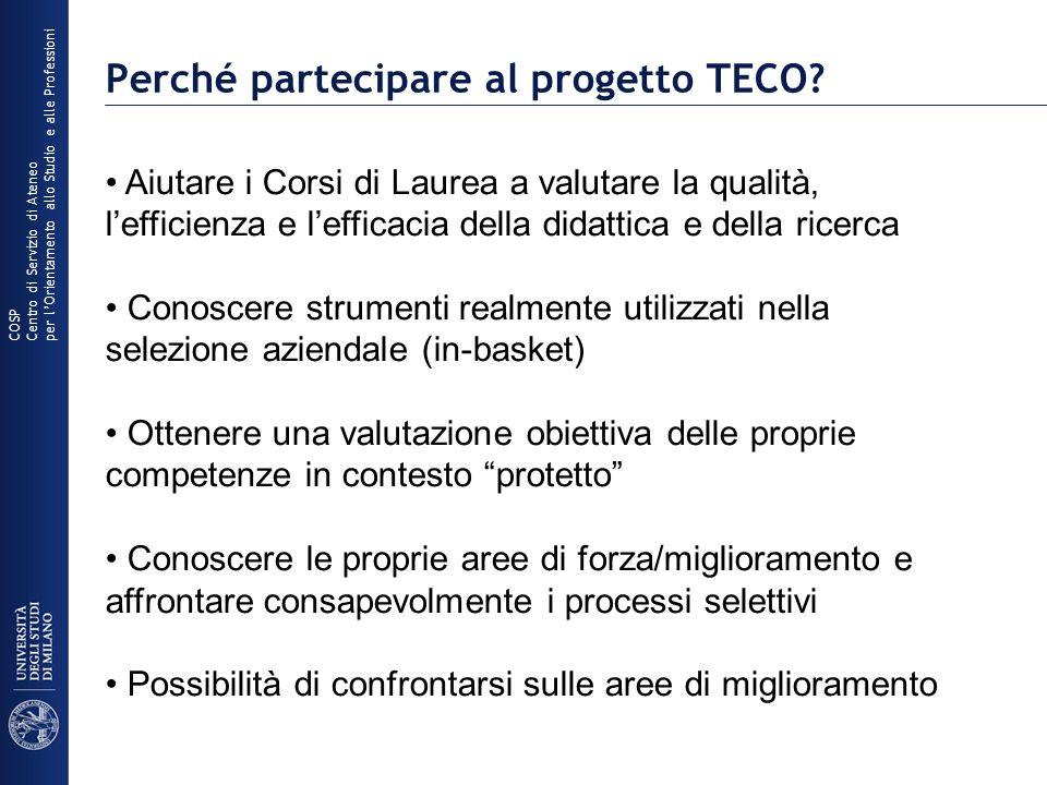 Perché partecipare al progetto TECO? COSP Centro di Servizio di Ateneo per lOrientamento allo Studio e alle Professioni Aiutare i Corsi di Laurea a va