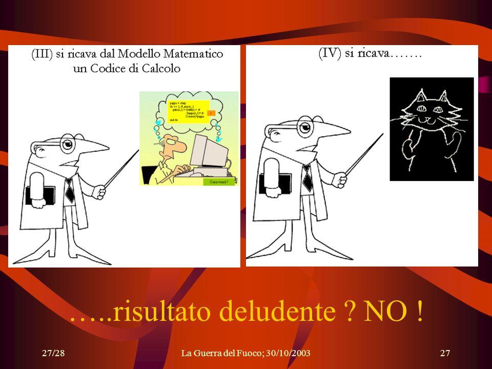 27/28La Guerra del Fuoco; 30/10/200327 …..risultato deludente ? NO !