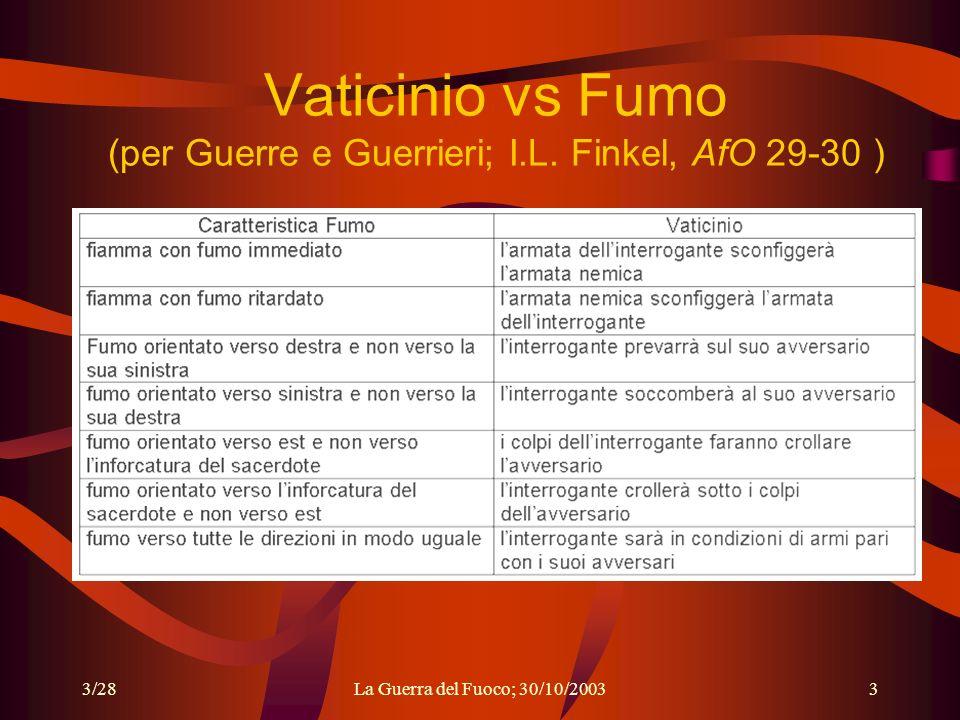 3/28La Guerra del Fuoco; 30/10/20033 Vaticinio vs Fumo (per Guerre e Guerrieri; I.L.