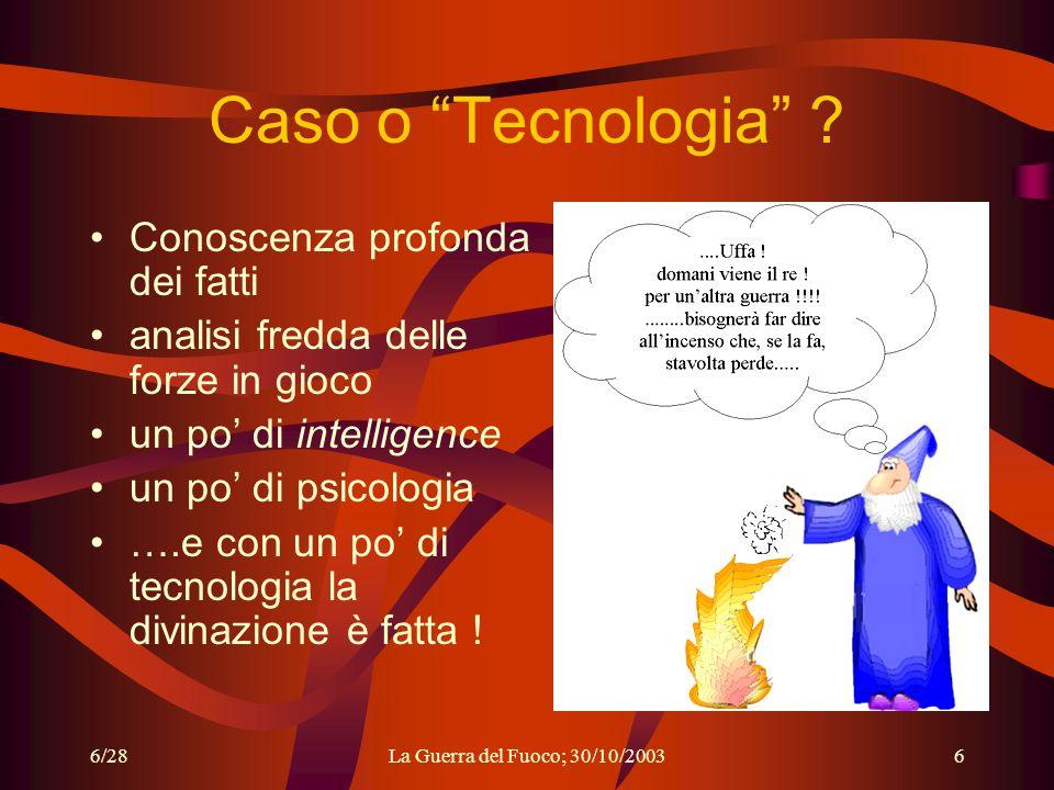 6/28La Guerra del Fuoco; 30/10/20036 Caso o Tecnologia .