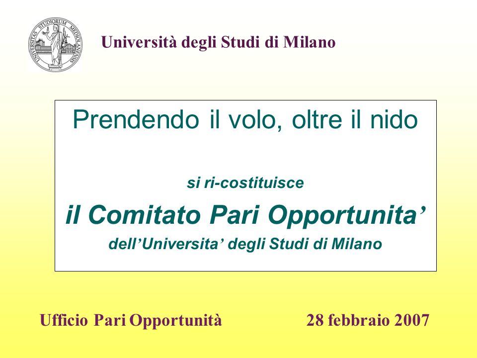 Prendendo il volo, oltre il nido si ri-costituisce il Comitato Pari Opportunita dell Universita degli Studi di Milano 28 febbraio 2007 Università degli Studi di Milano Ufficio Pari Opportunità
