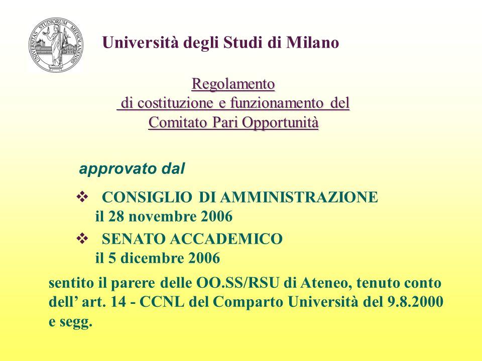 Università degli Studi di Milano COMPITI DEL COMITATO Promuovere la realizzazione di azioni positive per eliminare le disparità nella formazione scolastica e professionale, nellaccesso al lavoro, nella progressione di carriera.
