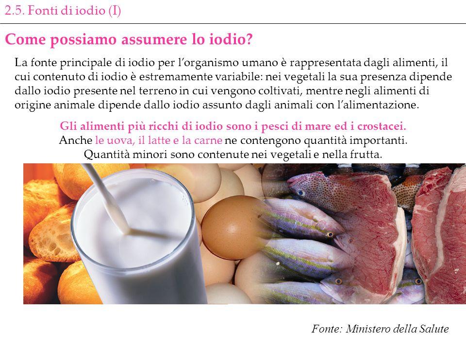 2.5. Fonti di iodio (I) Come possiamo assumere lo iodio? La fonte principale di iodio per lorganismo umano è rappresentata dagli alimenti, il cui cont