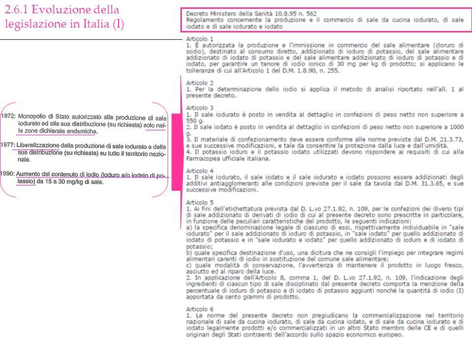 2.6.1 Evoluzione della legislazione in Italia (I)