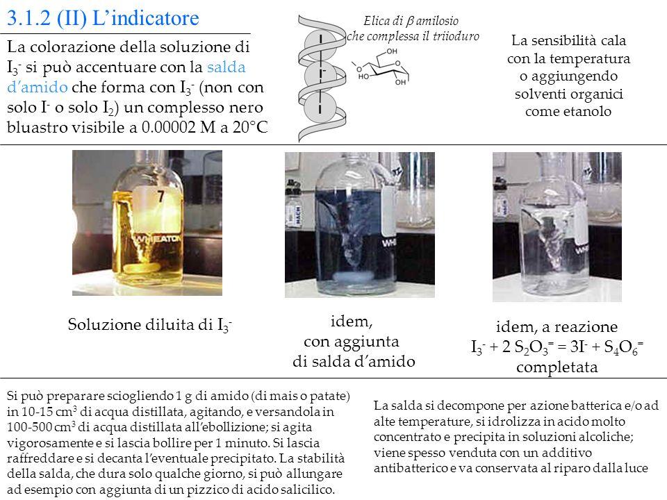 Soluzione diluita di I 3 - idem, con aggiunta di salda damido idem, a reazione I 3 - + 2 S 2 O 3 = = 3I - + S 4 O 6 = completata La salda si decompone