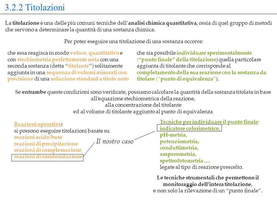 Reazioni operative: si possono eseguire titolazioni basate su reazioni acido/base reazioni di precipitazione reazioni di complessazione reazioni di os