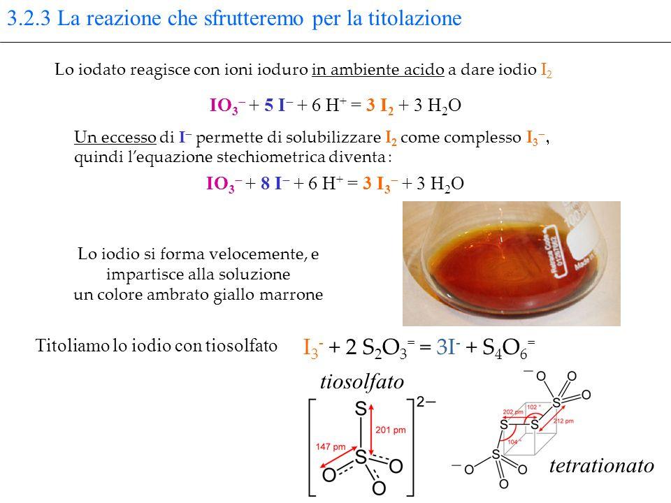 3.2.3 La reazione che sfrutteremo per la titolazione IO 3 + 5 I + 6 H + = 3 I 2 + 3 H 2 O Lo iodato reagisce con ioni ioduro in ambiente acido a dare iodio I 2 Un eccesso di I permette di solubilizzare I 2 come complesso I 3 quindi lequazione stechiometrica diventa : IO 3 + 8 I + 6 H + = 3 I 3 + 3 H 2 O Lo iodio si forma velocemente, e impartisce alla soluzione un colore ambrato giallo marrone I 3 - + 2 S 2 O 3 = = 3I - + S 4 O 6 = Titoliamo lo iodio con tiosolfato tiosolfato tetrationato