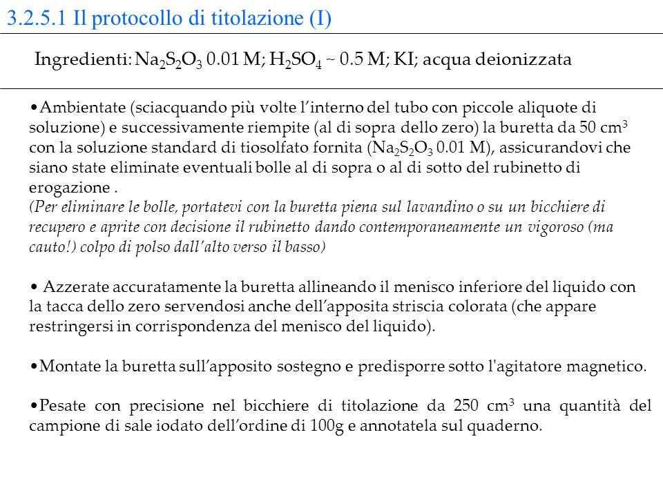 3.2.5.1 Il protocollo di titolazione (I) Ambientate (sciacquando più volte linterno del tubo con piccole aliquote di soluzione) e successivamente riem