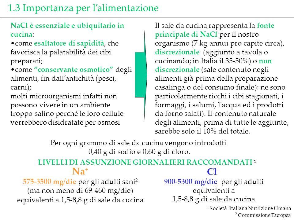1.3 Importanza per lalimentazione Per ogni grammo di sale da cucina vengono introdotti 0,40 g di sodio e 0,60 g di cloro. 1 Società Italiana Nutrizion