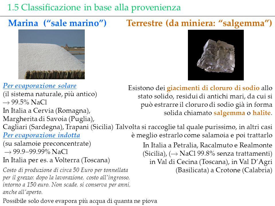 1.5 Classificazione in base alla provenienza Marina (sale marino) Costo di produzione di circa 50 Euro per tonnellata per il grezzo; dopo la lavorazio