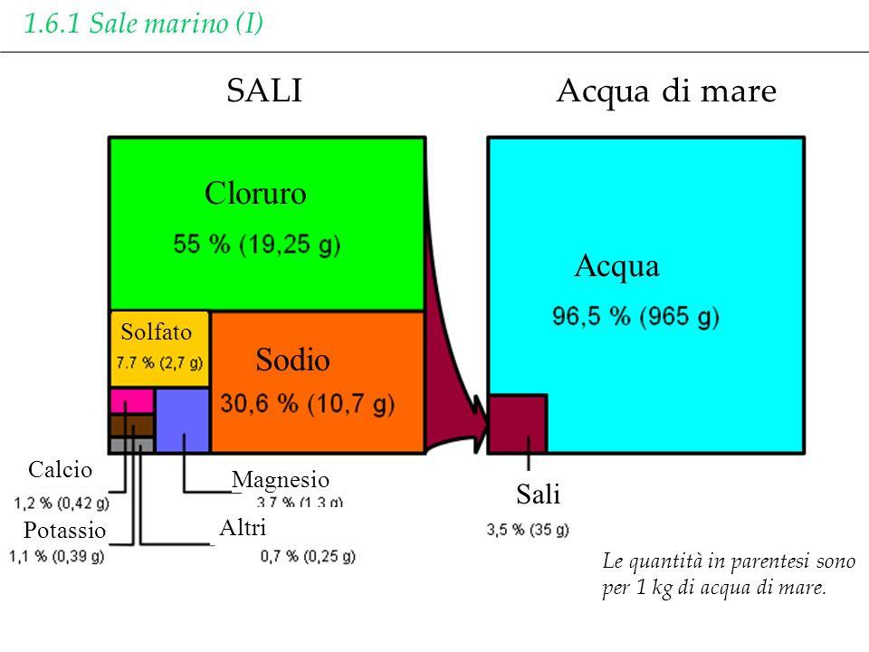 SALIAcqua di mare Acqua Cloruro Sodio Sali Magnesio Altri Calcio Solfato Potassio Le quantità in parentesi sono per 1 kg di acqua di mare. 1.6.1 Sale