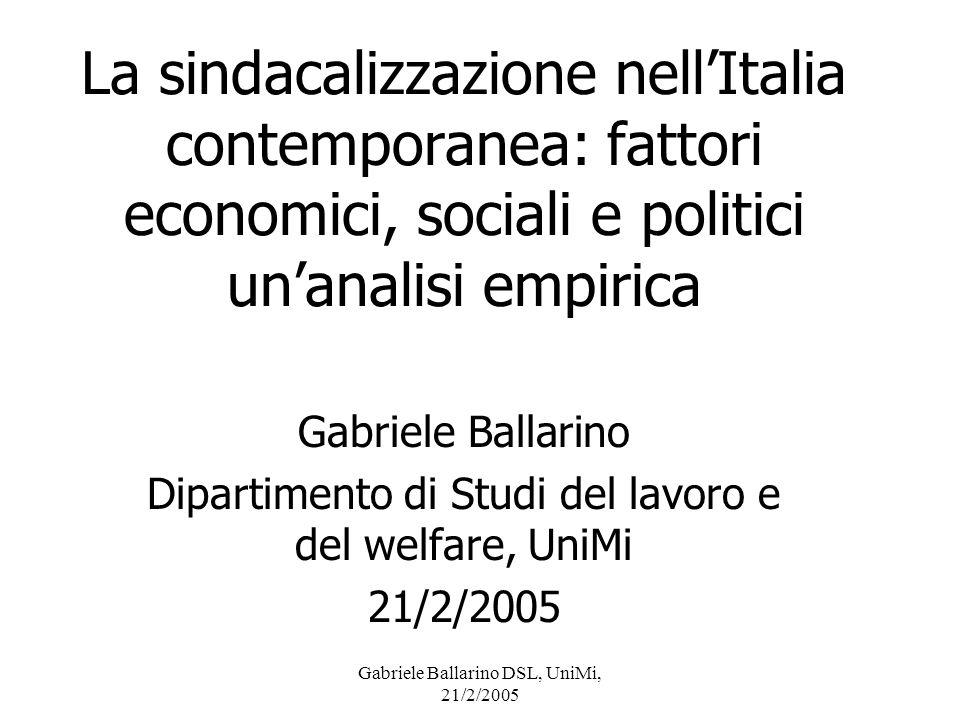 Gabriele Ballarino DSL, UniMi, 21/2/2005 Presentazione Dopo essere stata studiata negli anni 70 (eg Reyneri 1973; Romagnoli e Rossi 1980), la variazione della sindacalizzazione a livello territoriale in Italia non è stata più studiata in modo sistematico.