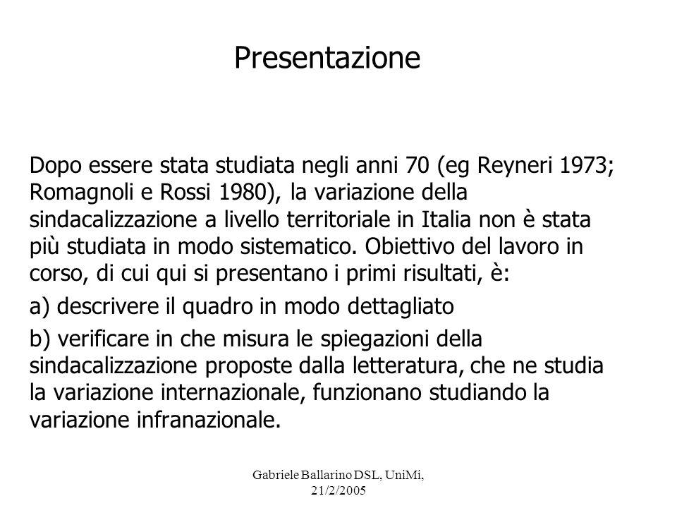 Gabriele Ballarino DSL, UniMi, 21/2/2005 Presentazione Questo lavoro si avvale di un nuovo database, costruito con dati di livello provinciale forniti direttamente dalle confederazioni nel 2001.